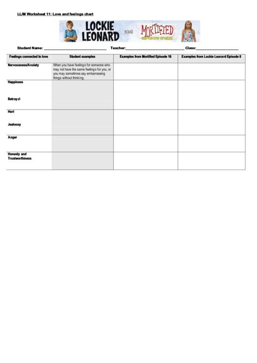 Love And Feelings Chart Printable pdf