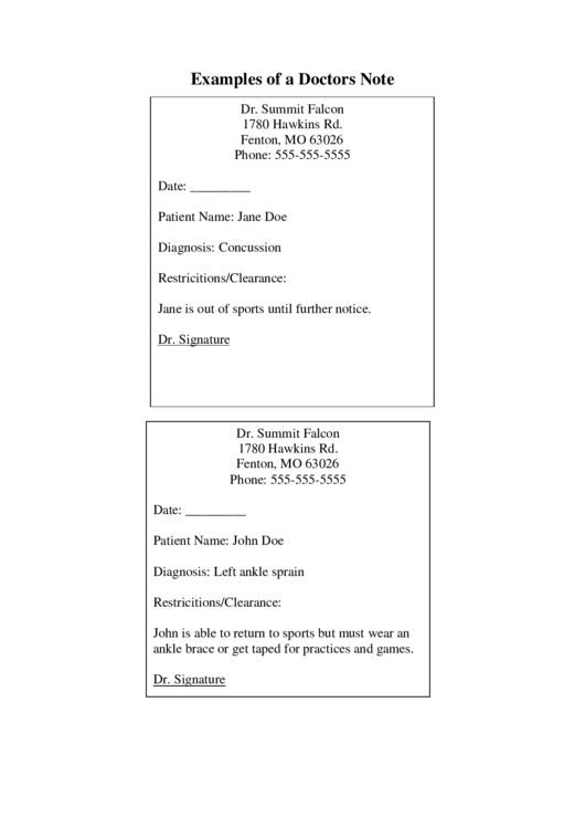 examples of a doctors note printable pdf download
