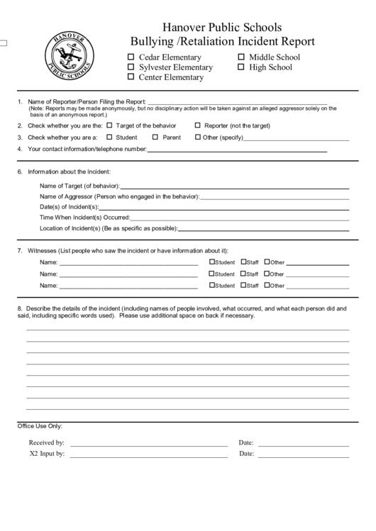 bullying  retaliation incident report form printable pdf download