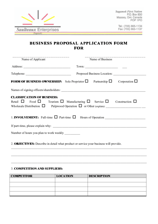 Business Proposal Application Form