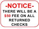 Returned Checks 50 Dollars Sign