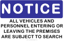 Notice Vehicles Will Be Searched Sign