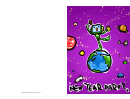 Robot On The Earth New Year Party Invitation Template