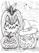 Halloween Pumpkins Paper Doll Coloring Pages