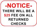Returned Checks 25 Dollars Sign