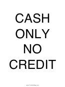 Cash Only No Credit Sign