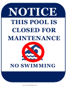 Pool Closed Maintenance
