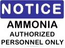 Notice Ammonia Sign