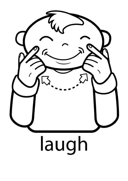 Sign Language Words: Laugh Sign Printable pdf