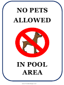 No Pets Allowed Pool Area