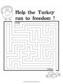 Turkey Freedom Thanksgiving Maze Template