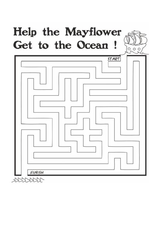 Mayflower Thanksgiving Maze Template printable pdf download