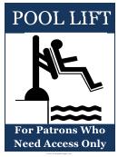 Pool Lift Sign