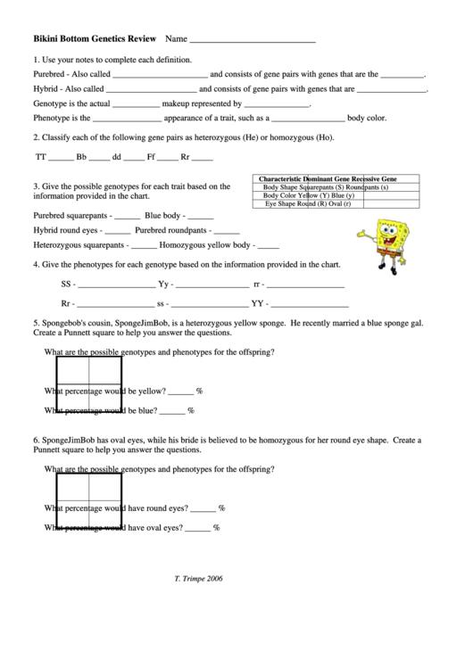 Bikini Bottom Genetics Review Printable Pdf Download