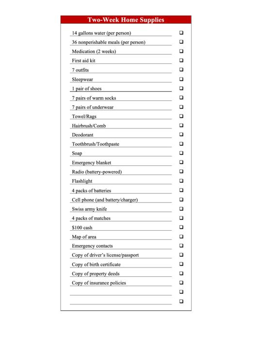 Two-Week Emergency Supplies Checklist Printable pdf