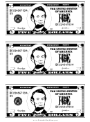 Five Dollar Bill Template - Black And White