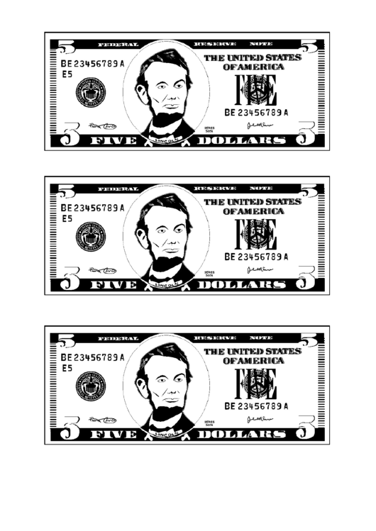 Top 9 Five Dollar Bill Templates Free To Download In Pdf Format