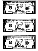 One Dollar Bill Template - Black And White