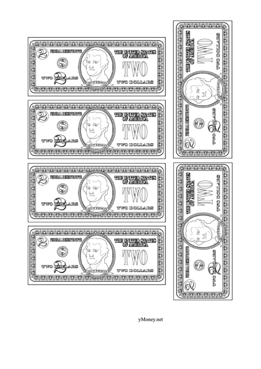 Two Dollar Bill Template - Black And White