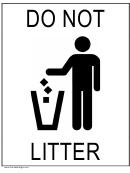 Do Not Litter Sign Template