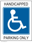 Parking Only Sign Template