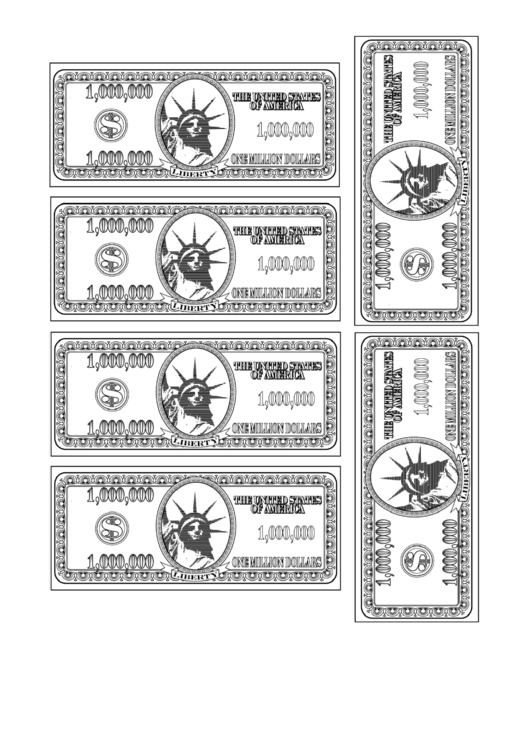 One Million Dollar Bill Template