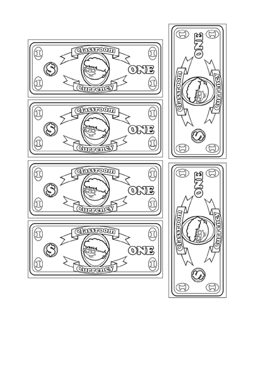 classroom currency one dollar bill template printable pdf download