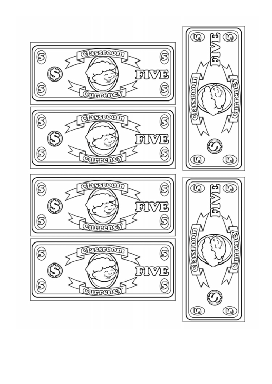 Classroom Currency Five Dollar Bill Template Printable Pdf Download