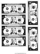 Mini-dollar Bill Template - Black And White