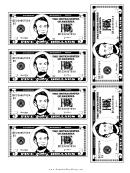Mini-five Dollar Bill Template - Black And White