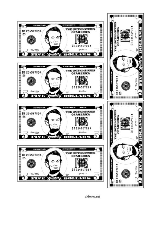 Mini Five Dollar Bill Template Black And White Printable Pdf Download