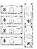 Mid-hundreds Mini Play Money Template