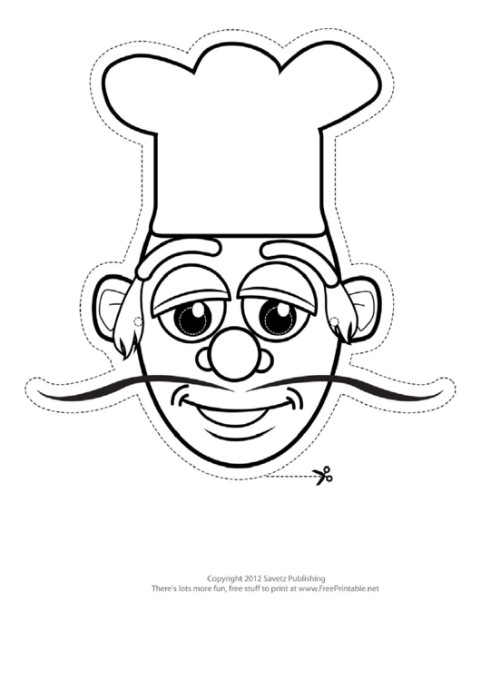Fillable Cook Mask Outline Template Printable pdf