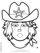 Sheriff Woman Mask Outline Template