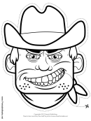 Male Bandit Mask Outline Template