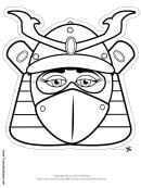 Female Samurai Mask Outline Template