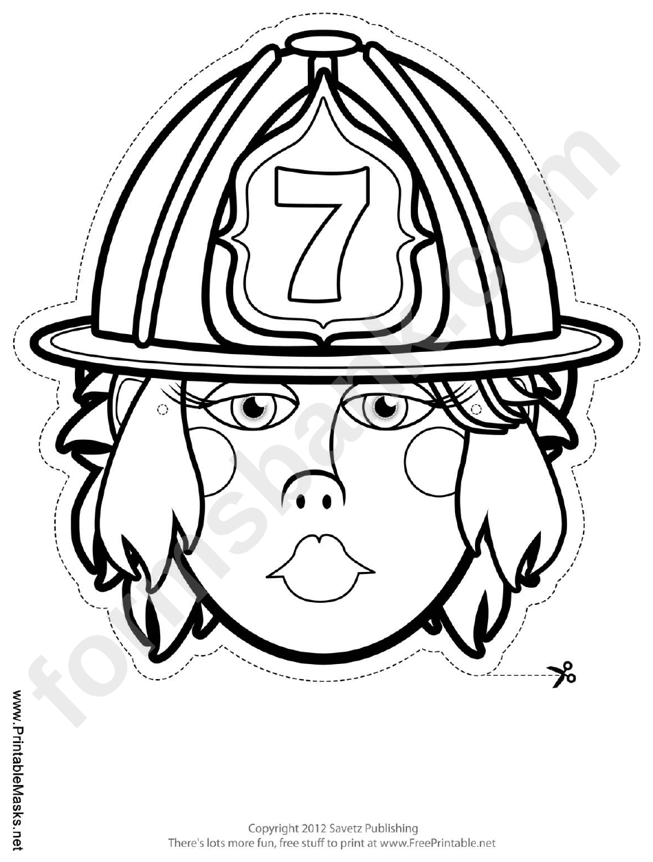 Fillable Firewoman Mask Outline Template printable pdf download