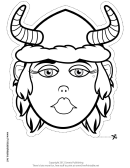 Viking Woman Mask Outline Template