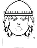 Medieval Fighter Woman Mask Outline Template