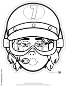 Pilot Female Mask Outline Template