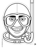 Diver Mask Outline Template