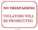 No Trespassing Violators Prosecuted