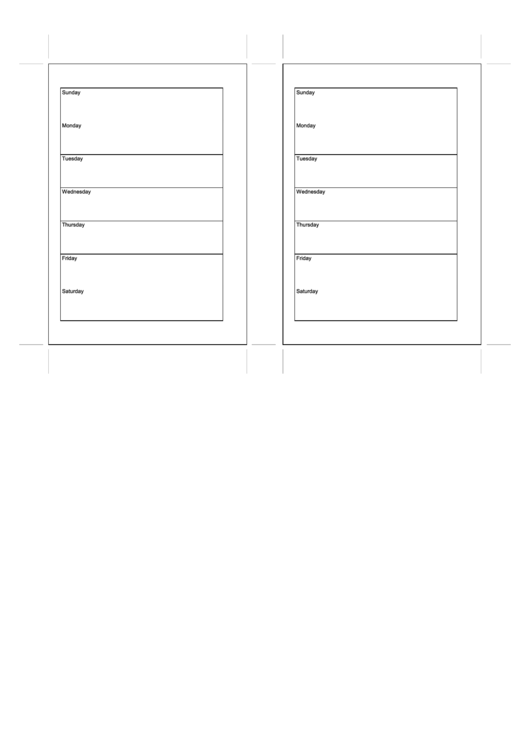 Weekly Planner Template - Two Per Page Printable pdf