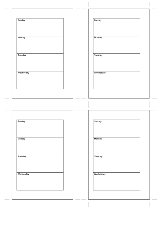 Daily Planner Template - Four Per Page Printable pdf