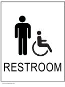 Handicapped Restroom Men Sign Template