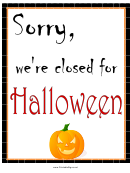 Halloween Closed Sign