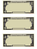 Blank One Dollar Template