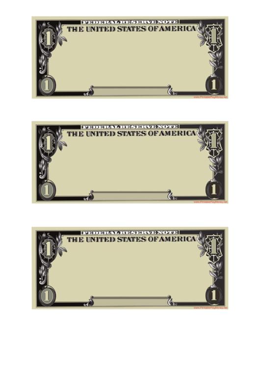 Blank One Dollar Template