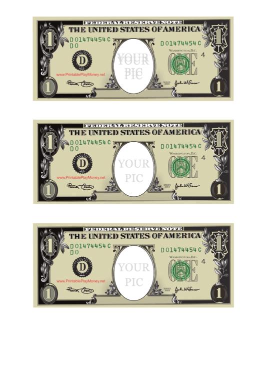 One Dollar Bill Template