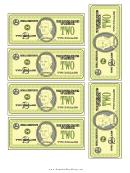 Two Dollar Bill Templates